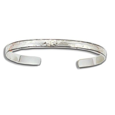 Sterling Silver 6mm Hawaiian Plumeria Design with Black Border Cuff Bangle