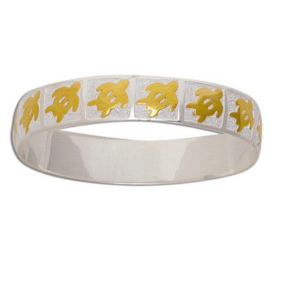 Sterling Silver Two Tone 12mm Hawaiian HONU Design with Plain Edge Bangle