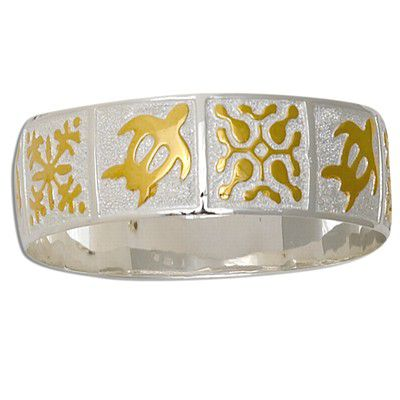 Sterling Silver Two Tone 18mm Hawaiian HONU and Mixed Quilt Design with Plain Edge Bangle