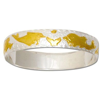 Sterling Silver Two Tone 12mm Hawaiian Dolphin Design Bangle with Plain Edge