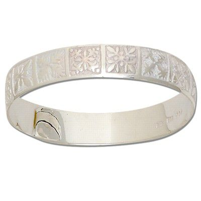 Sterling Silver 10mm Hawaiian Mixed Quilt Design Kids Bangle with Plain Edge
