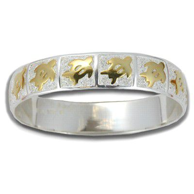 Sterling Silver Two Tone 10mm Hawaiian HONU Design Kid's Bangle with Plain Edge