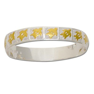 Sterling Silver Two Tone 8mm Hawaiian HONU Design Kid's Bangle with Plain Edge