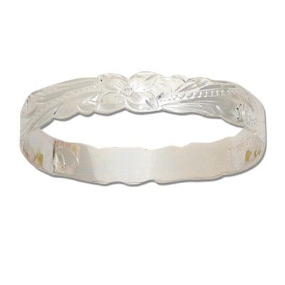 Sterling Silver 8mm Hawaiian Plumeria and Scroll Cut-out Design Kid's Bangle with Plain Edge