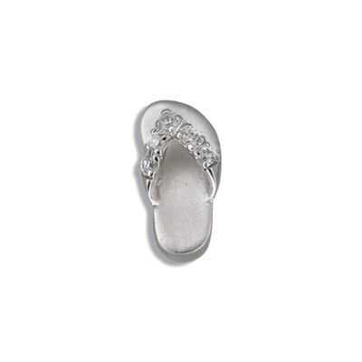 Sterling Silver Hawaiian Slipper with CZ Slide Pendant