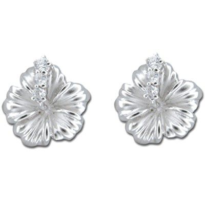 Sterling Silver 12MM Hawaiian Hibiscus with Clear CZ Earrings (S)
