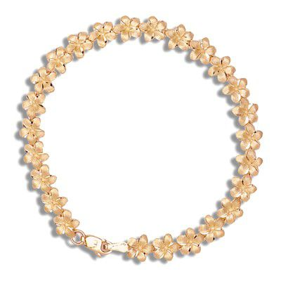 14kt Rose Gold 7mm Plumeria Leis Bracelet