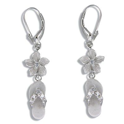 Sterling Silver Hawaiian 10mm Plumeria and Slipper Lever Back Earrings