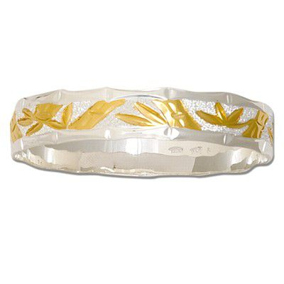 Sterling Silver Two Tone 8mm Hawaiian Bamboo Design Kid's Bangle with Plain Edge