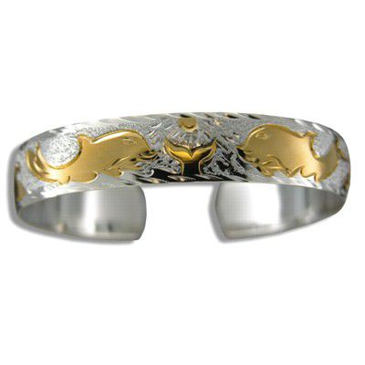 Sterling Silver Two Tone 12mm Hawaiian Dolphin Design with Plain Edge Cuff Bangle