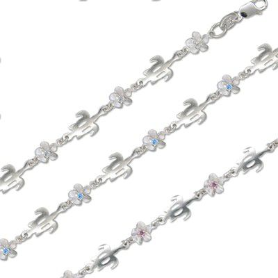 Sterling Silver Hawaiian 6MM Plumeria and 8MM Cut-Out HONU Design Anklet