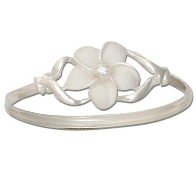 Sterling Silver Single Hawaiian Plumeria Design Bangle with Open Clasp