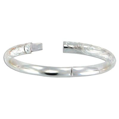 Sterling Silver 8mm Hawaiian Plumeria and Scroll Design Bangle with Hinge Opening