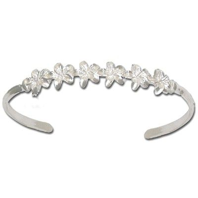 Sterling Silver 6 Hawaiian Plumeria Cuff Bangle