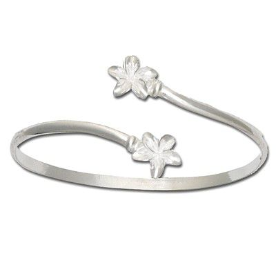 Sterling Silver Double Hawaiian Plumeria Cuff Bangle