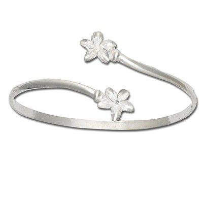 Sterling Silver Double Hawaiian Plumeria with Clear CZ Cuff Bangle