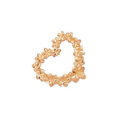 14KT Rose Gold Plumeria Leis Heart Slide
