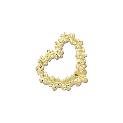 14KT Yellow Gold Plumeria Leis Heart Slide Pendant