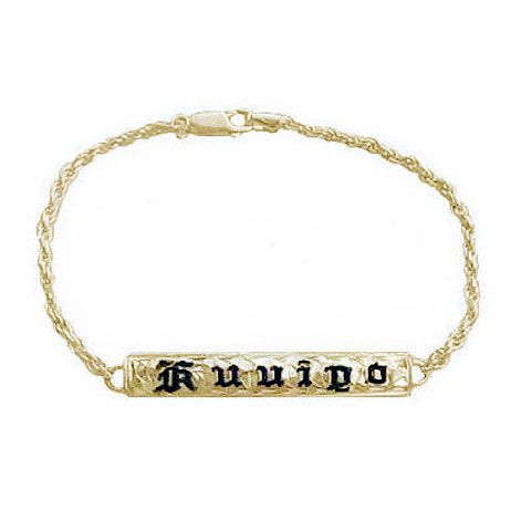 Kids 14KT Gold Hawaiian 6mm ID Bracelet with Custom Name in black Enamel