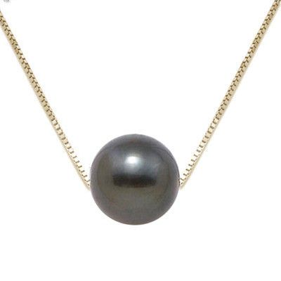 Floating Black Tahitian Pearl with 14KT Gold Box Chain