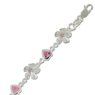 Sterling Silver 11MM Hawaiian Plumeria Design with Heart Shaped Pink CZ Bracelet