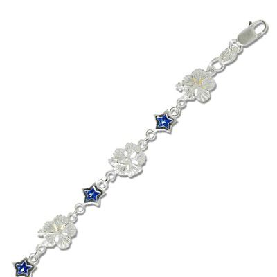 Sterling Silver 9MM Hawaiian Hibiscus Design with Star Shaped Blue CZ Bracelet