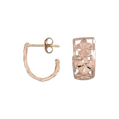 14kt Rose Gold Hawaiian 6mm Plumeria Loop Earrings