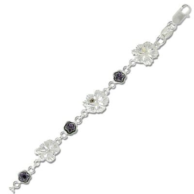 Sterling Silver 9MM Hawaiian Hibiscus Design with Flower Shaped Purple Amethyst CZ Bracelet