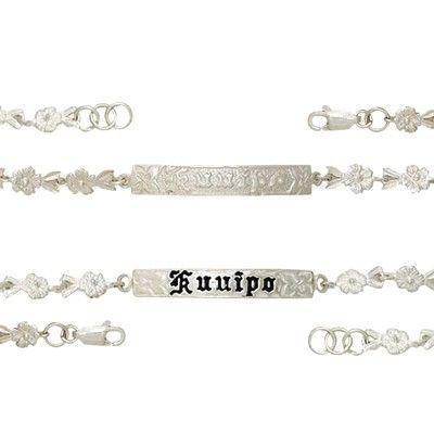 Sterling Silver 6MM Hawaiian 'Kuuipo' Design with Plumeria Link Bracelet