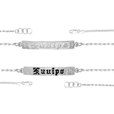 Sterling Silver 6MM Hawaiian 'Kuuipo' Design with Rope Link Bracelet