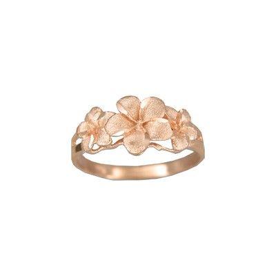 14kt Rose Gold Three Plumeria Flowers Ring