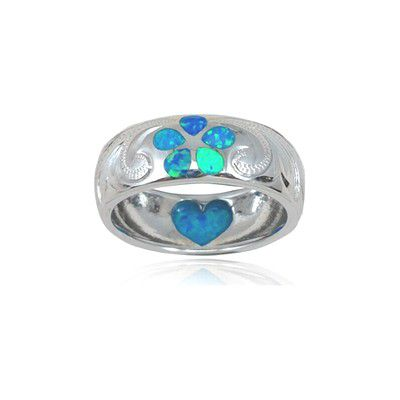 Sterling Silver Hawaiian Plumeria and Heart Design Blue Opal Ring