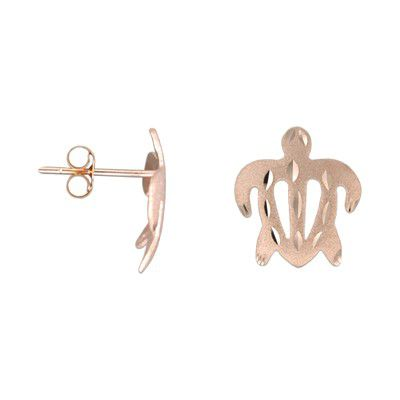 14kt Rose Gold 12mm Hawaiian Honu (Turtle) Pierced Earrings