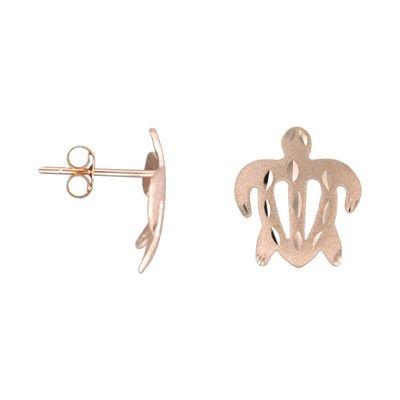 14kt Rose Gold 12mm Hawaiian Honu (Turtle) Pierced Earrings