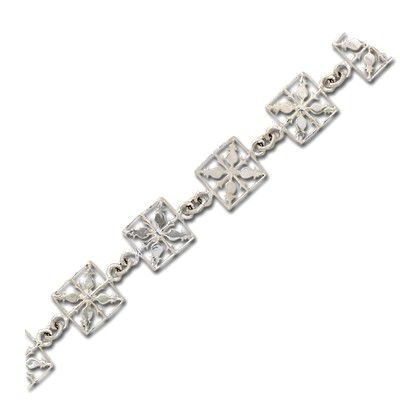 Sterling Silver 12MM Hawaiian Pineapple Quilt Design Bracelet (L)