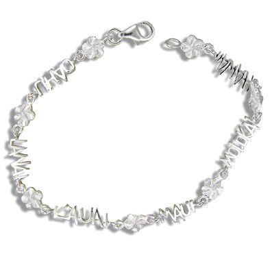 Sterling Silver Hawaiian Plumeria with Island Names Bracelet