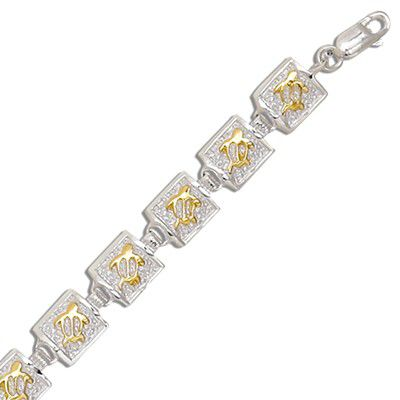 Sterling Silver Two Tone 8MM Hawaiian Honu Quilt Design Bracelet (S)
