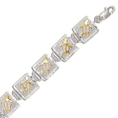 Sterling Silver Two Tone 10MM Hawaiian Honu Quilt Design Bracelet (M)
