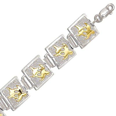 Sterling Silver Two Tone 12MM Hawaiian Honu Quilt Design Bracelet (L)