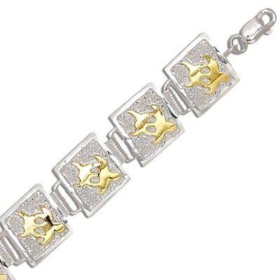 Sterling Silver Two Tone 12MM Hawaiian Honu Quilt Design Bracelet (L)