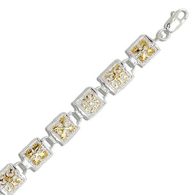 Sterling Silver Two Tone 8MM Hawaiian Mixed Quilt Design Bracelet (S)