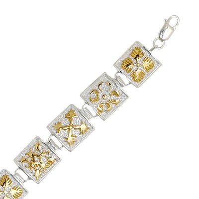 Sterling Silver Two Tone 12MM Hawaiian Mixed Quilt Design Bracelet (L)