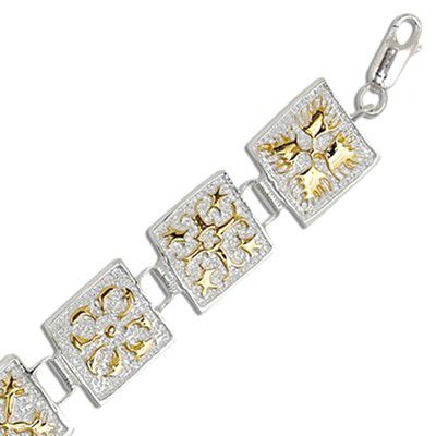 Sterling Silver Two Tone 15MM Hawaiian Mixed Quilt Design Bracelet (XL)