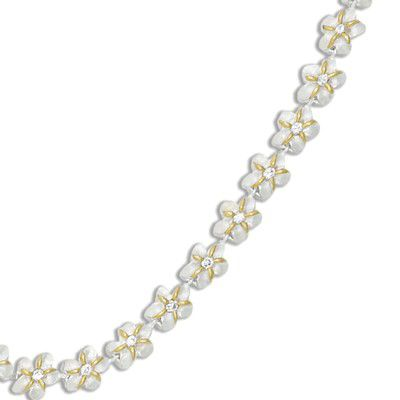 Sterling Silver Two Tone 6MM Hawaiian Plumeria with Clear CZ Design Bracelet