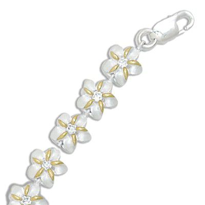 Sterling Silver Two Tone 8MM Hawaiian Plumeria with Clear CZ Design Bracelet
