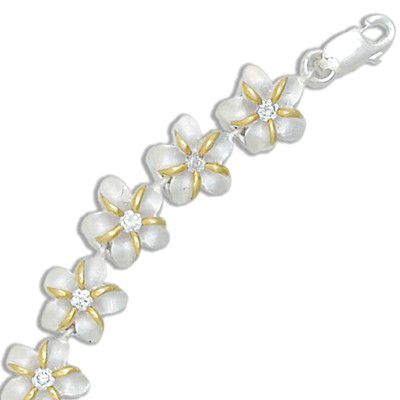 Sterling Silver Two Tone 10MM Hawaiian Plumeria with Clear CZ Design Bracelet