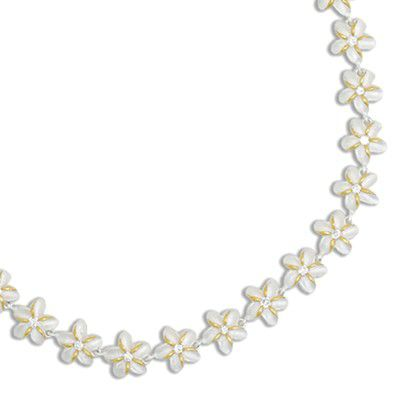 Sterling Silver Two Tone 12MM Hawaiian Plumeria with Clear CZ Design Bracelet