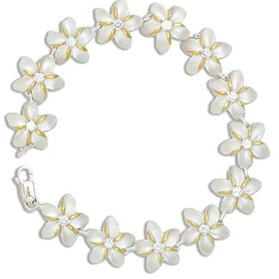 Sterling Silver Two Tone 15MM Hawaiian Plumeria with Clear CZ Design Bracelet