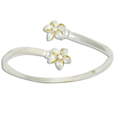 Sterling Silver Two Tone Double Hawaiian Plumeria with Clear CZ Cuff Bangle
