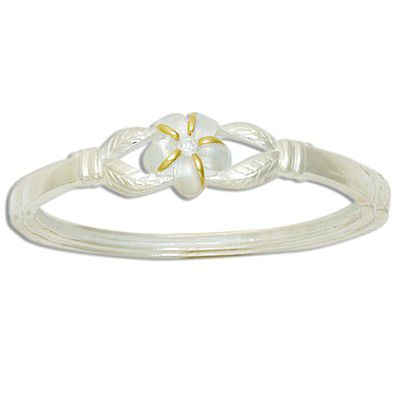Sterling Silver Two Tone Hawaiian Plumeria Design Bangle with Hinge Opening